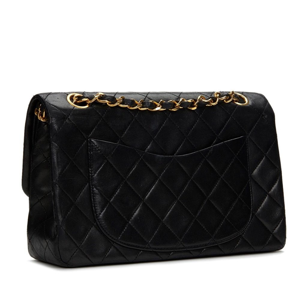 36e040b4e5623 Chanel Black Quilted Lambskin Vintage Small Classic Double Flap Bag