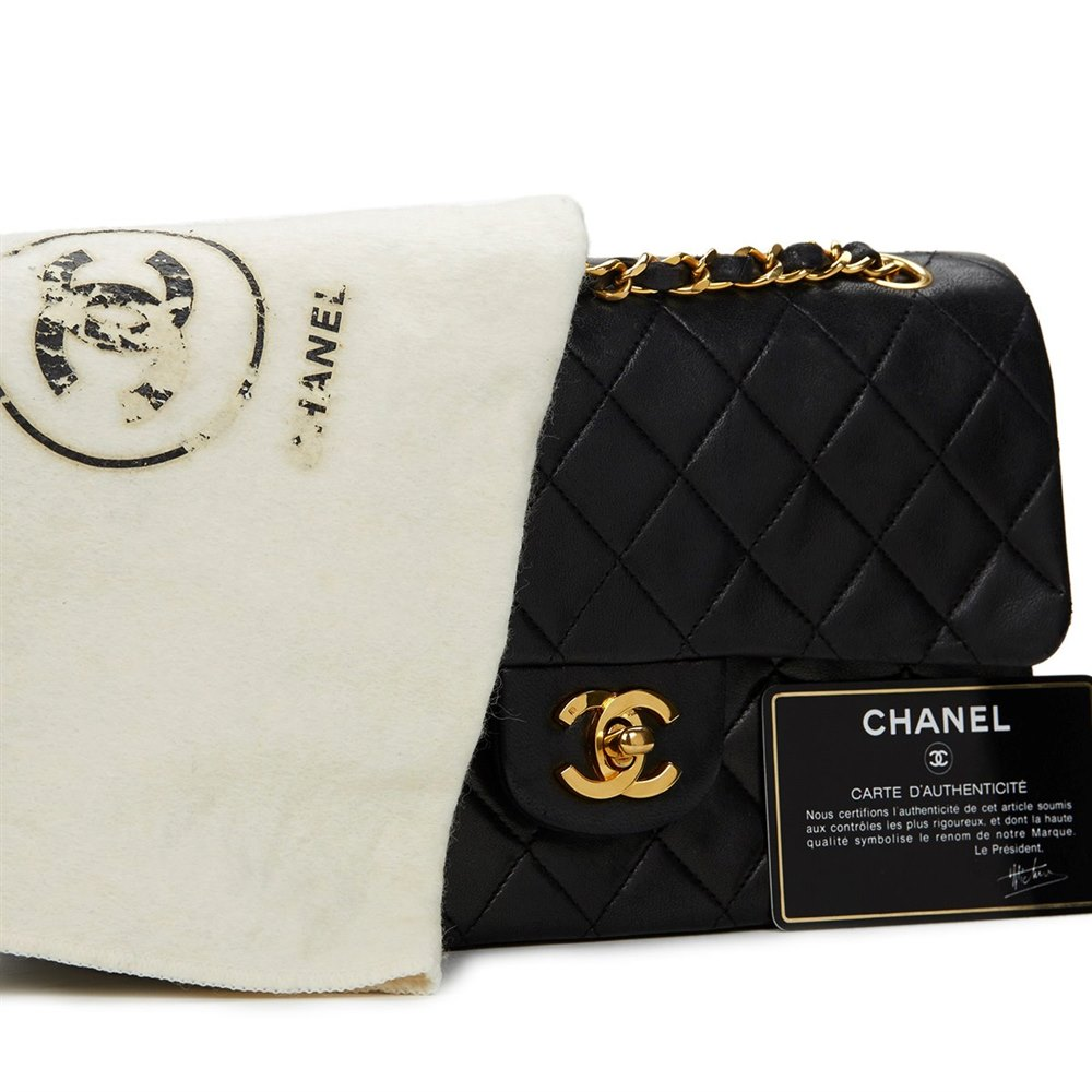 chanel small classic double flap bag 1988 hb554 second hand handbags. Black Bedroom Furniture Sets. Home Design Ideas