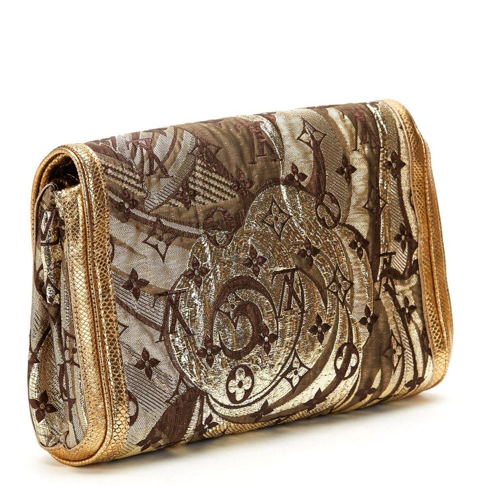 Louis Vuitton Gold Monogram Brocade & Lizard Leather Thalie Clutch