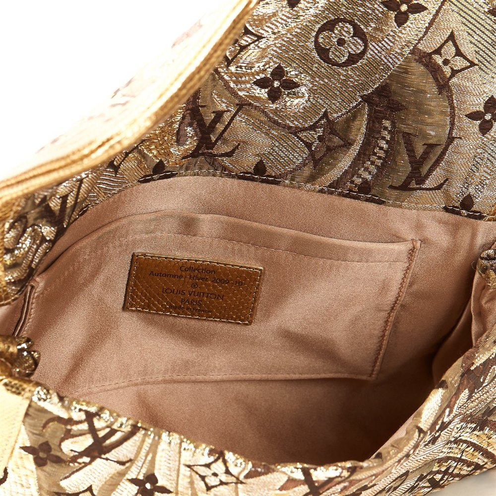 Louis Vuitton Gold Monogram Brocade & Lizard Leather Thalie Clutch