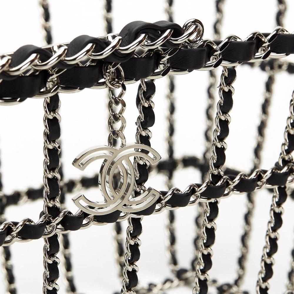Chanel Silver & Black Calfskin Leather Fall 2014 Act 2 Basket Bag