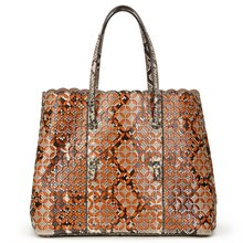 Alaia Python Leather & Orange Calfskin Leather Perforated Shopper