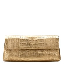 Nancy Gonzalez Gold Crocodile Leather Clutch
