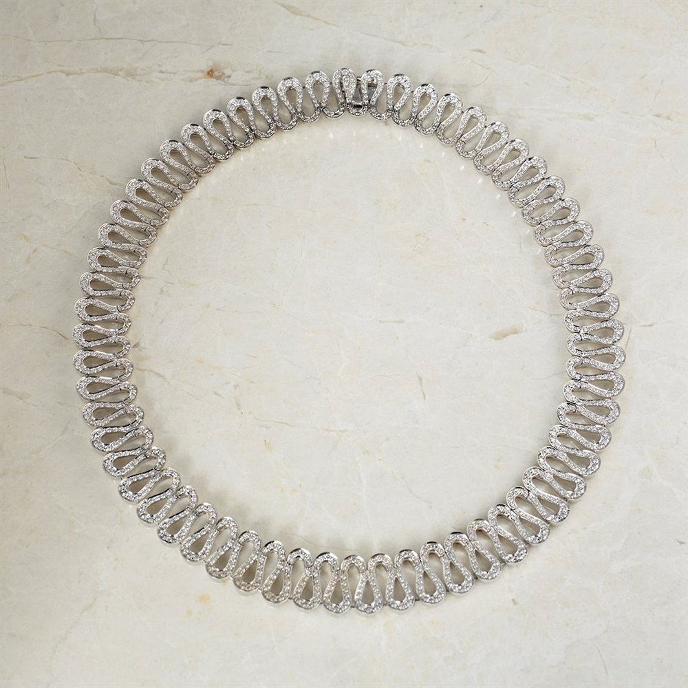 Boucheron 18k White Gold Necklace, Earrings, Bracelet & Ring Richelieu Suite