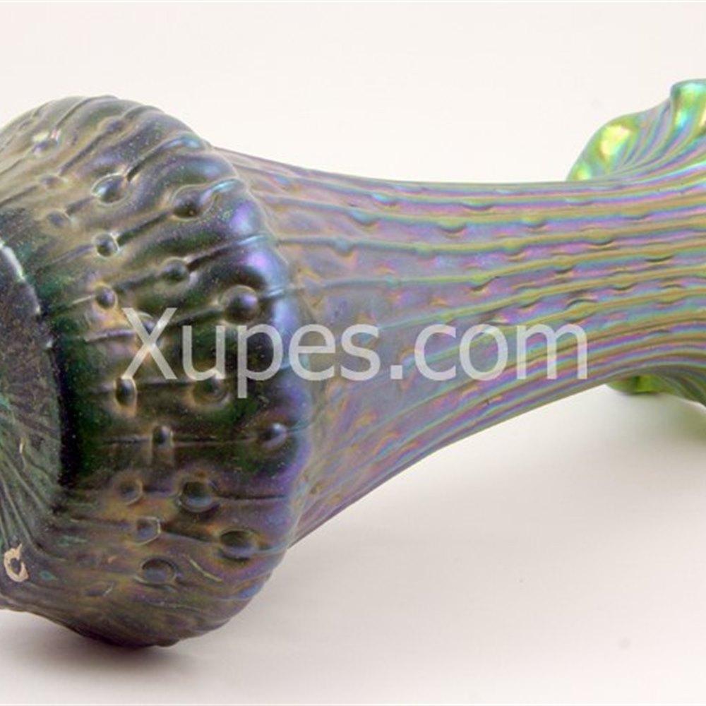 Iridescent Green Glass Vase Circa 1900