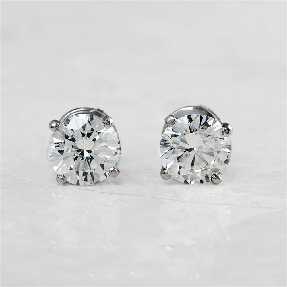 Cartier Platinum Round Brilliant Cut 4.03ct Diamond Stud Earrings
