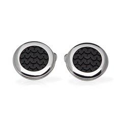 Chopard Stainless Steel Black Rubber Mille Miglia Cufflinks