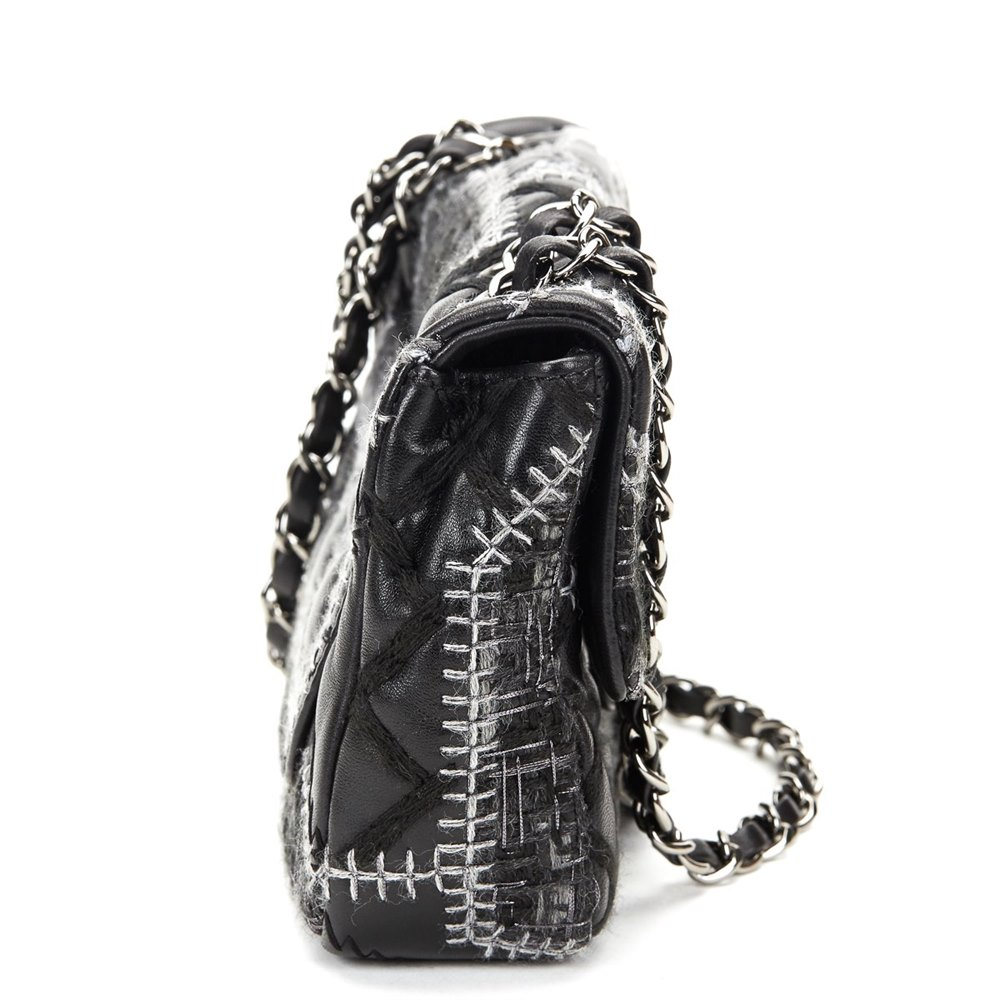 b1d81ab97902 Chanel Black Calfskin & Grey Wool Patchwork Classic Single Flap Bag