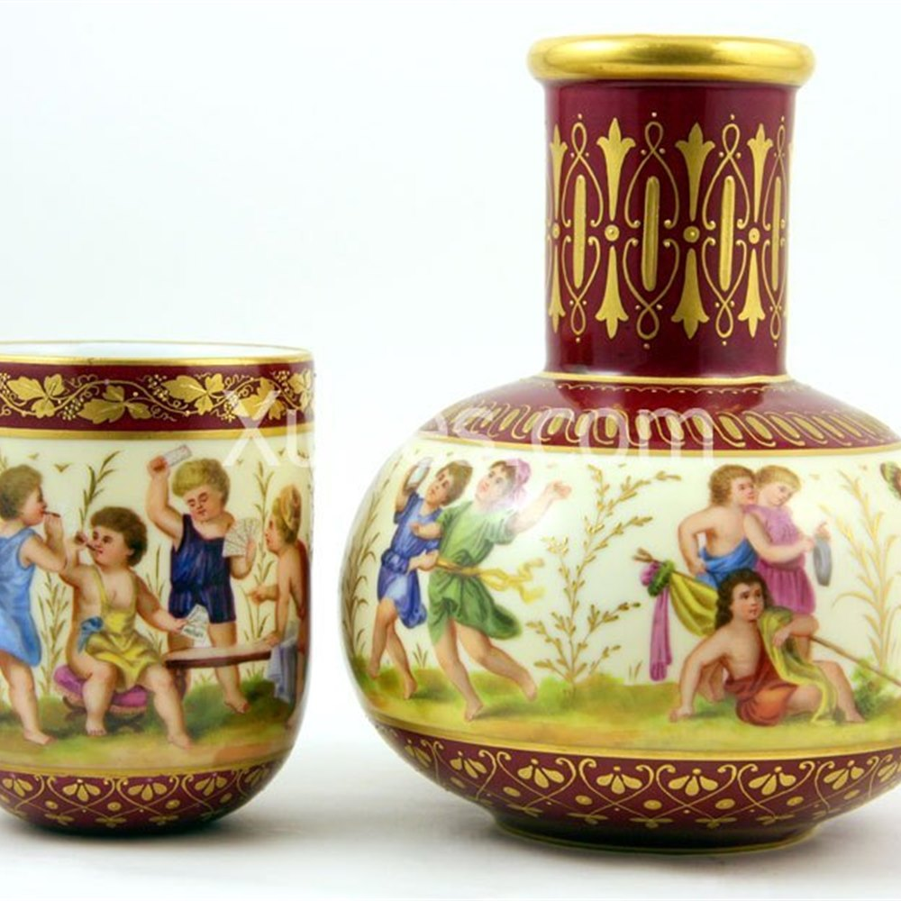Vienna Carafe Set Painted With Children 19th Century