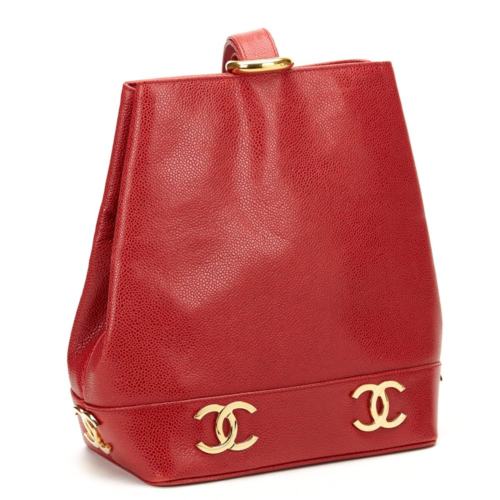 Chanel Red Caviar Leather Vintage Bucket Bag 9479438f23d47