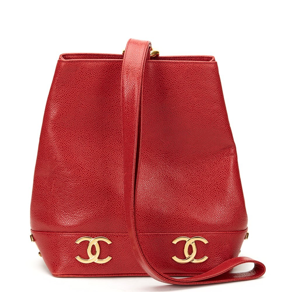 2c2d72ba5b08 Chanel Red Caviar Leather Vintage Bucket Bag
