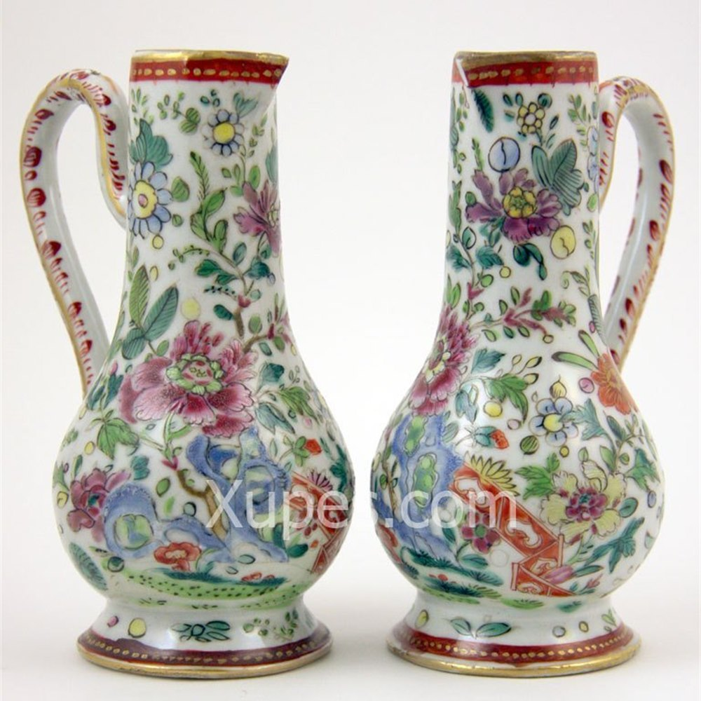 Floral Decorated Handled Ewers/Jugs Kangxi 1662 - 1722