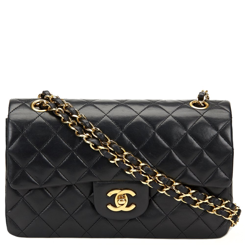 08b37b83ac6c Chanel Black Quilted Lambskin Vintage Small Classic Double Flap Bag