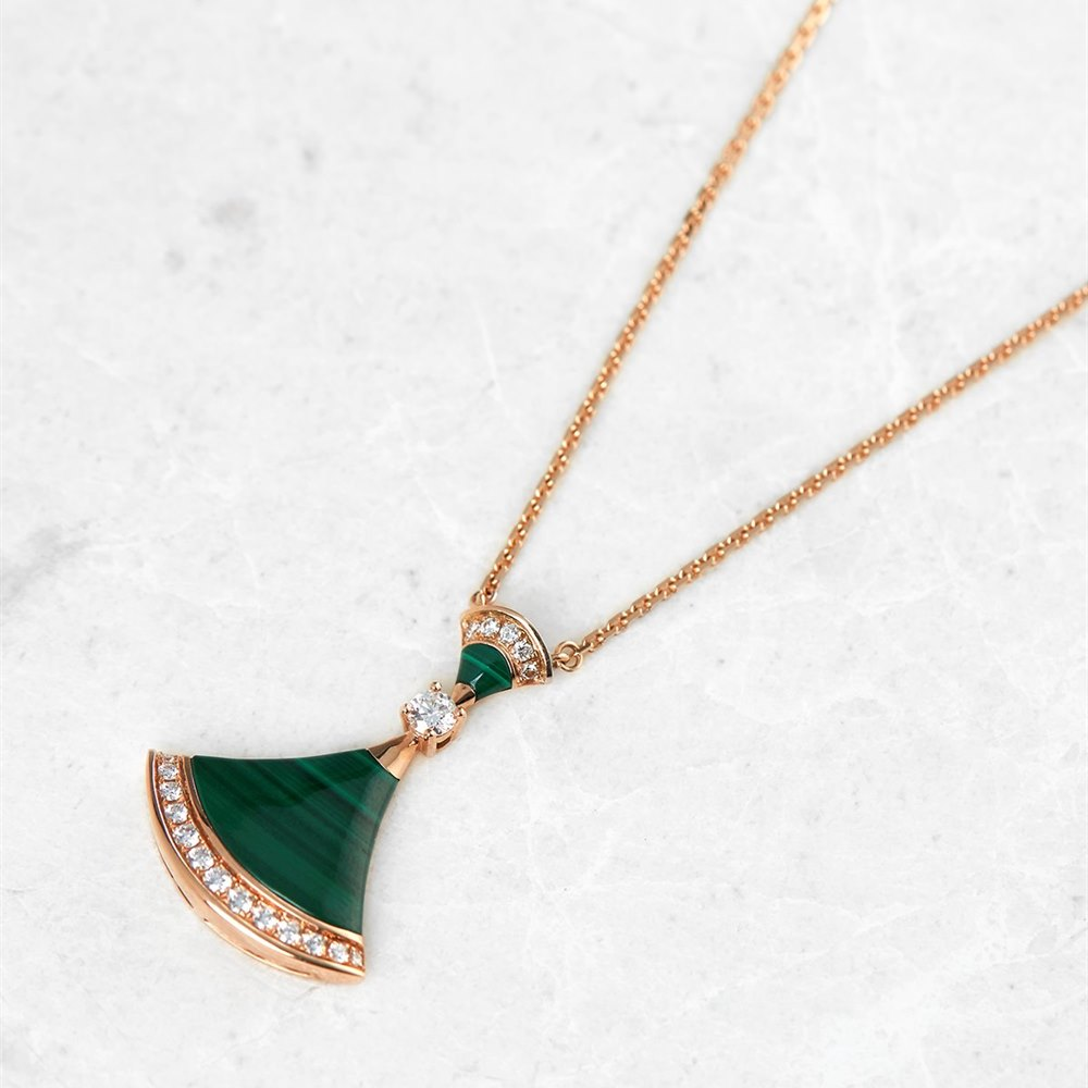 Bulgari 18k Rose Gold Malachite & Diamond Divas' Dream Necklace