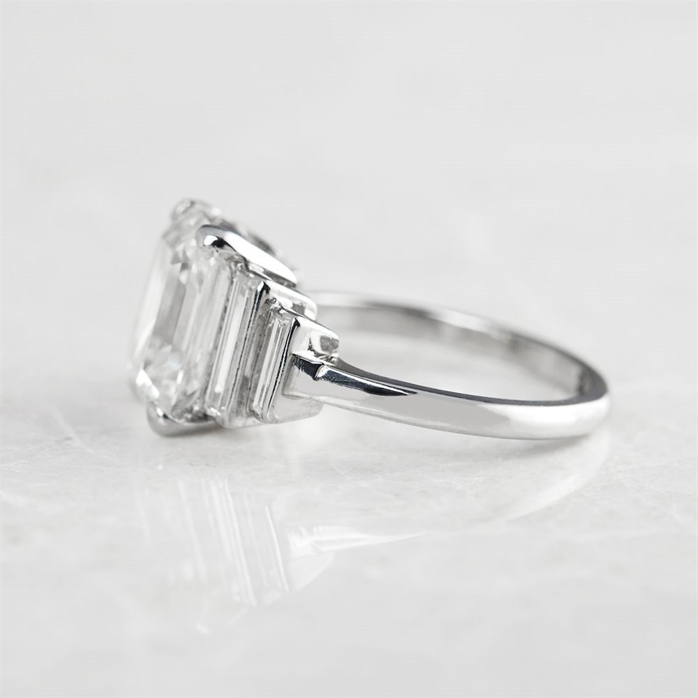 Platinum, total weight - 4.96 grams  Platinum Emerald Cut 3.54ct Diamond Ring