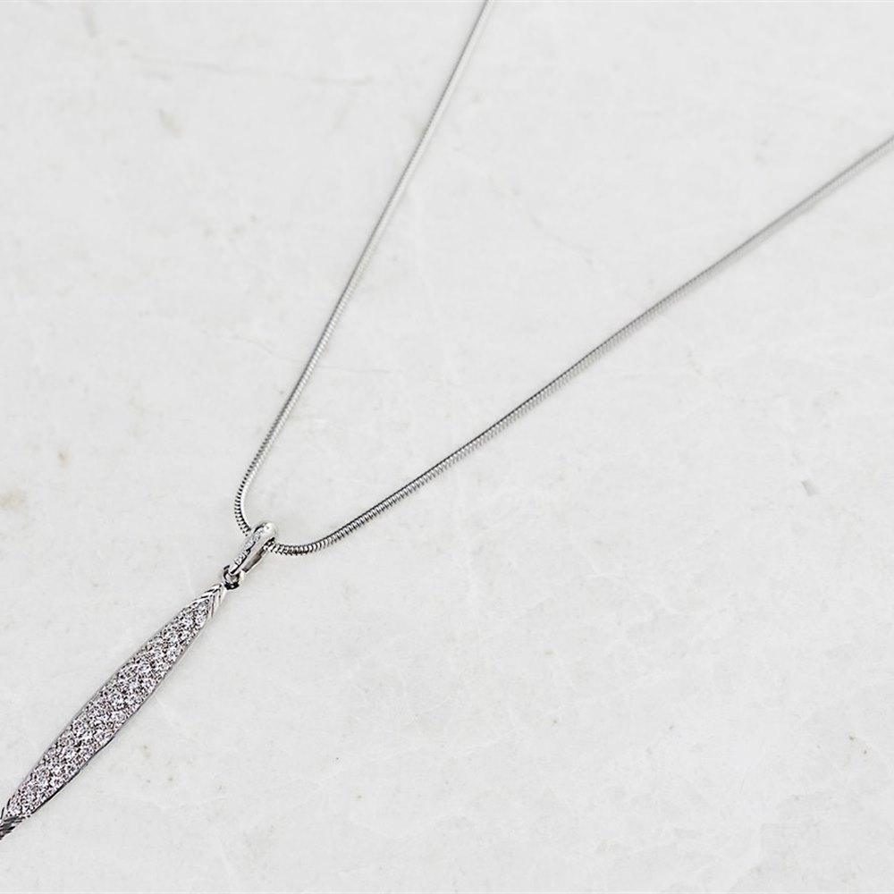 Tiffany & Co. 18k White Gold 0.50ct Pavé Diamond Feather Necklace
