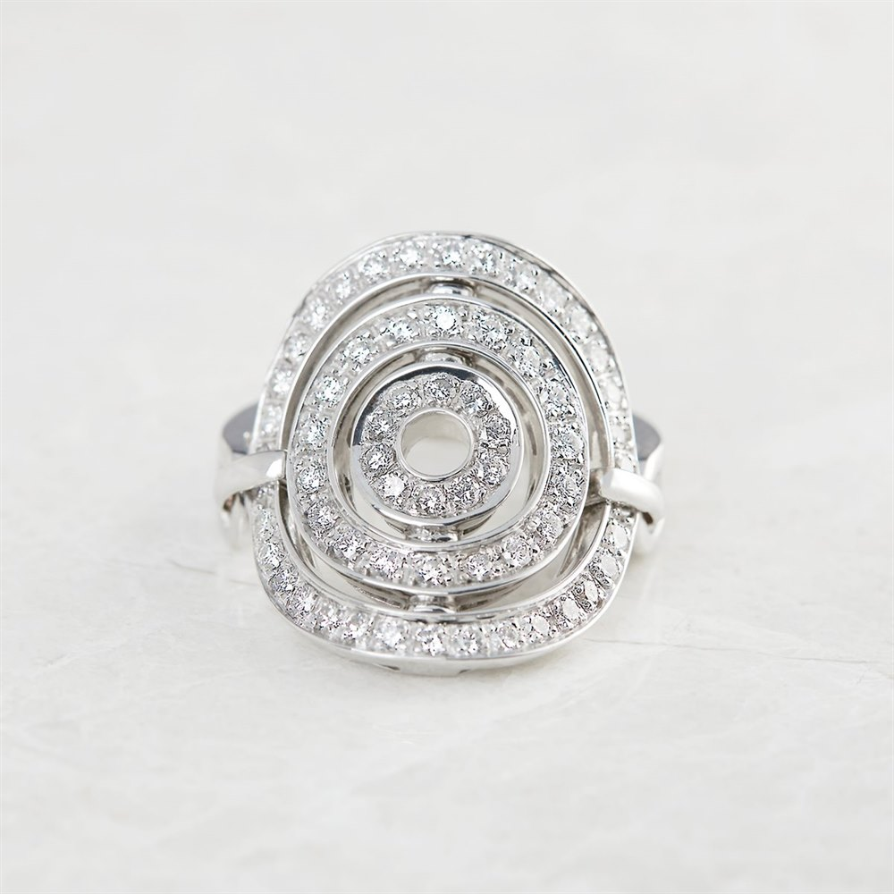 Bulgari 18k White Gold 1.20ct Diamond Cerchi Shield Design Ring