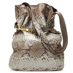 Chloe Taupe Python Leather Joan Bucket Bag