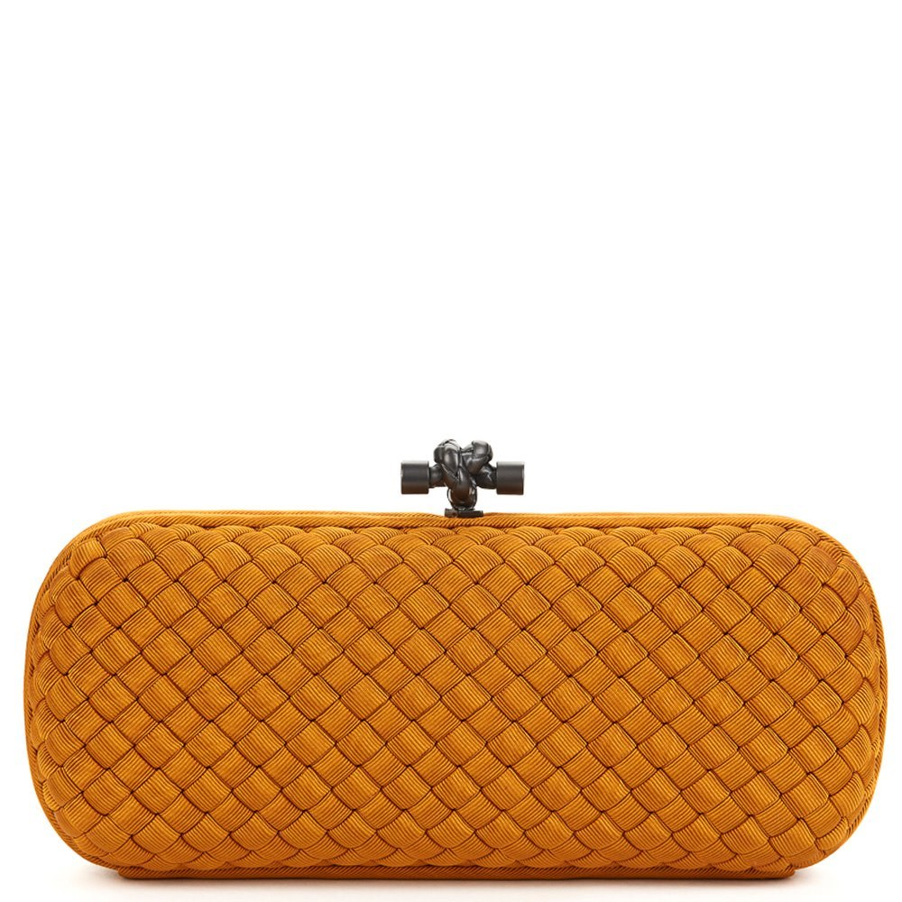 7d2647072a Bottega Veneta Burnt Orange Woven Faille Silk Long Knot Clutch