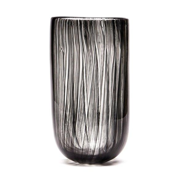 VINTAGE MURANO BLACK TRAILED ART GLASS VASE 20TH C.
