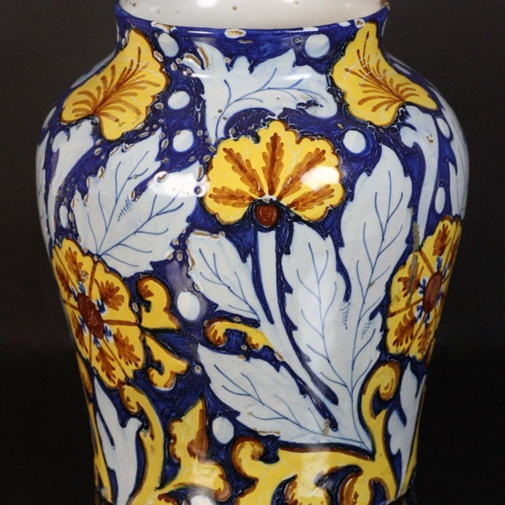 Italian Sicilian Maiolica Drug Jar 18th Century believed to date from around 1730