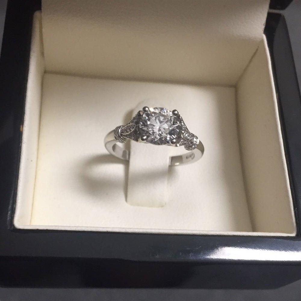 Platinum Platinum Round Brilliant Cut 1.20ct Diamond Vintage Style Engagement Ring