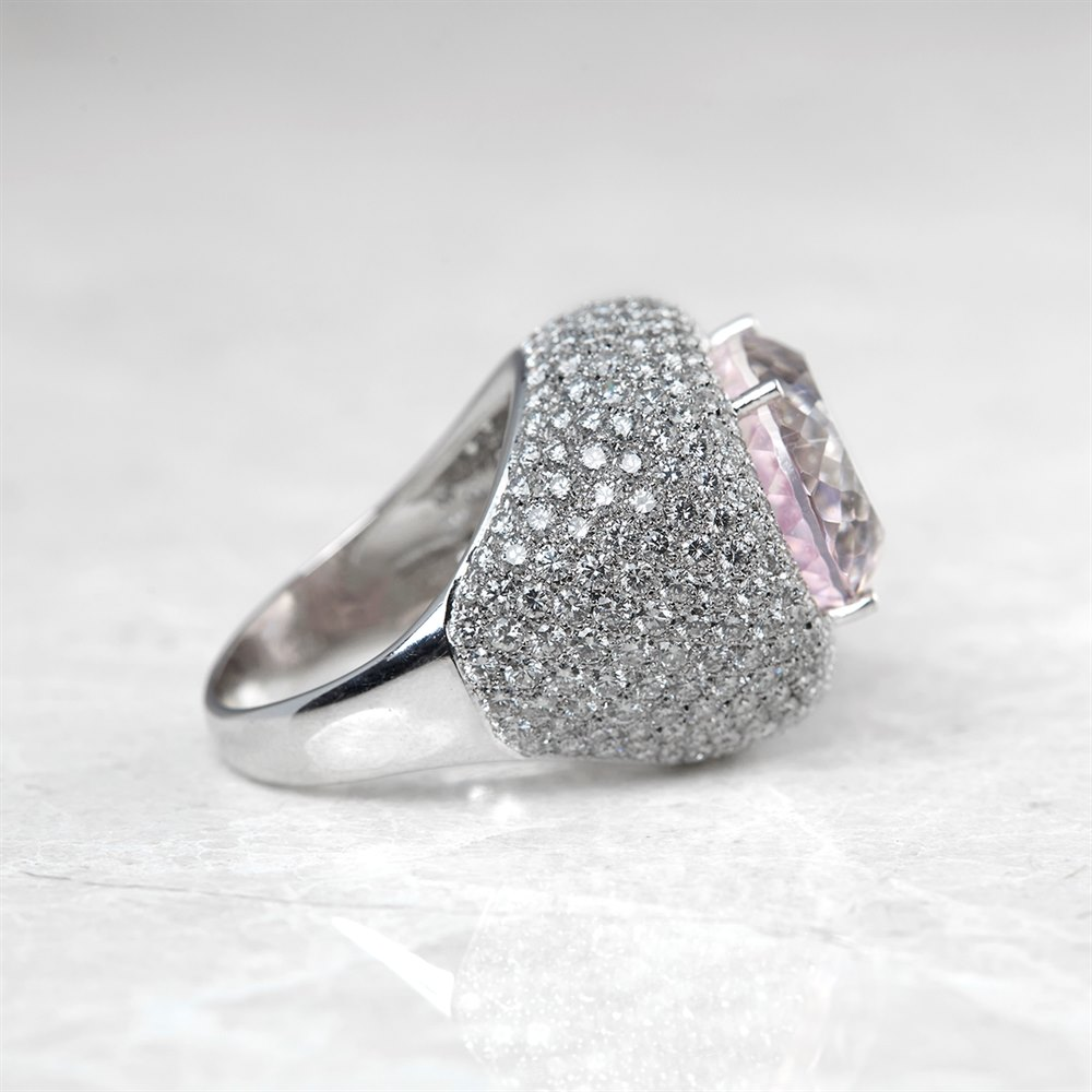Kunzite  18k White Gold Kunzite & Diamond Ring