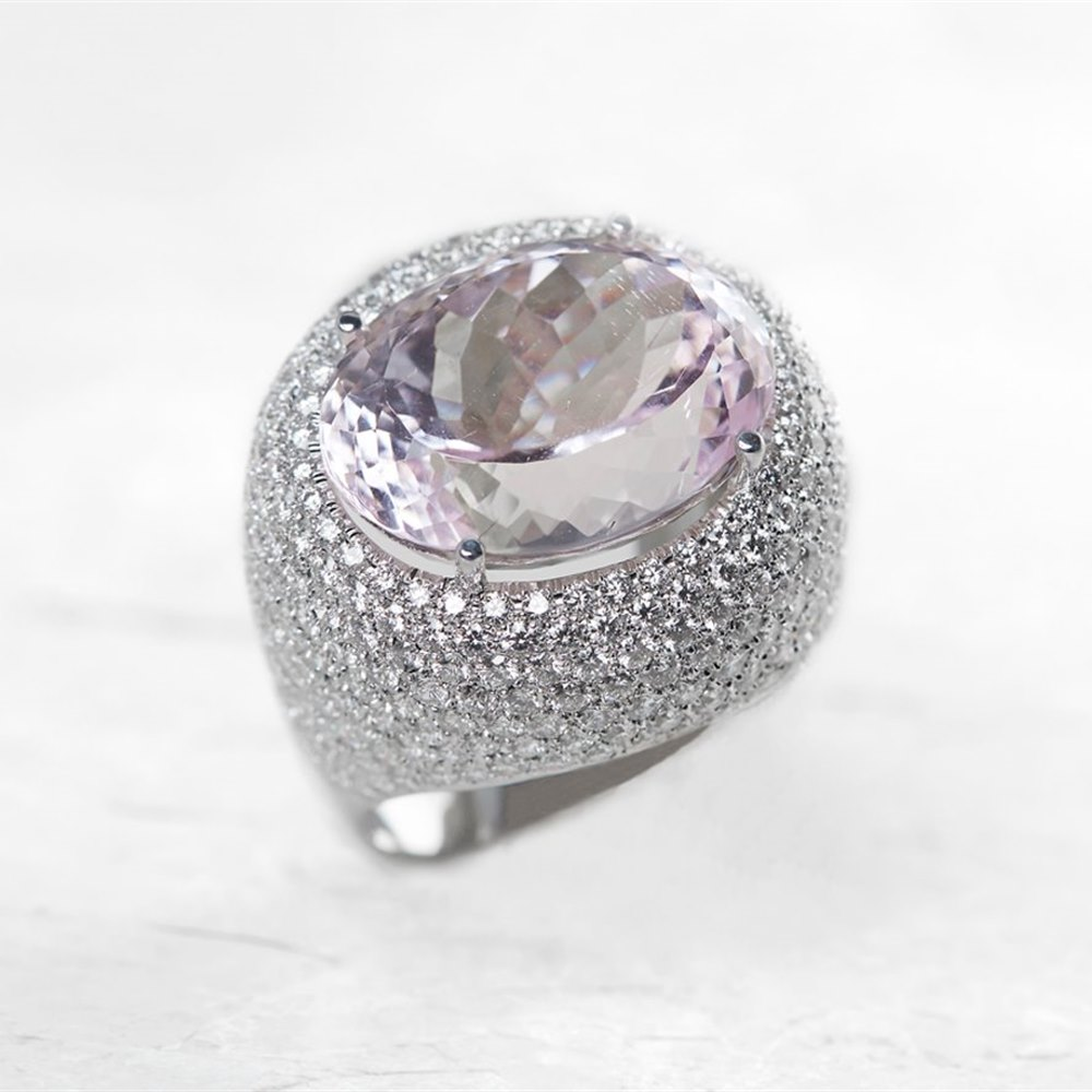 18k White Gold Kunzite & Diamond Ring