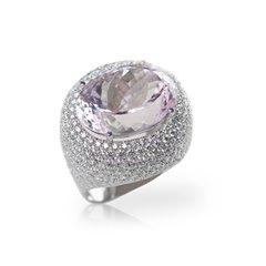 18k White Gold Kunzite & Diamond Cocktail Ring