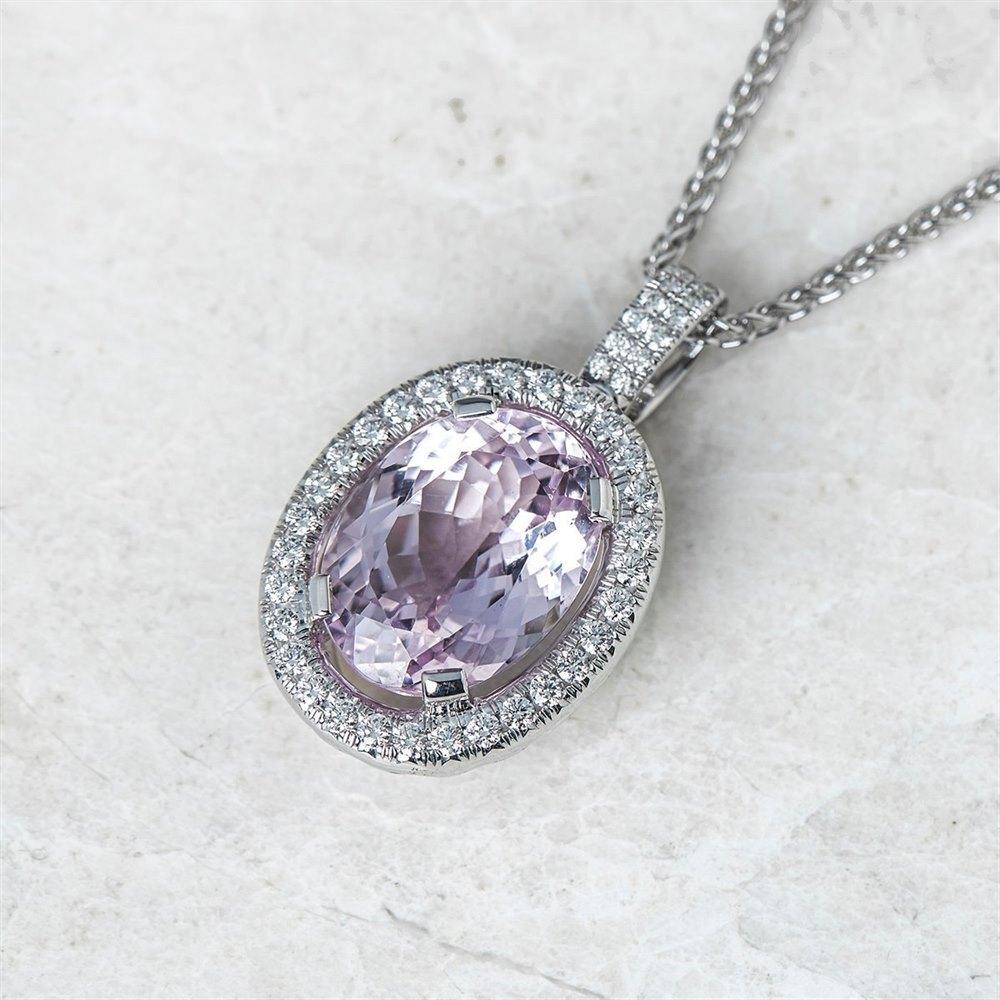 18k White Gold 11.00ct Kunzite & 1.50ct Diamond Necklace
