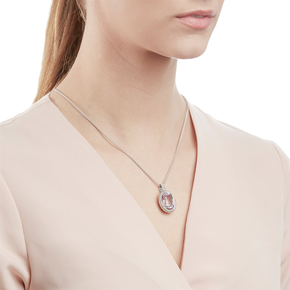 Kunzite 18k White Gold Kunzite & Diamond Pendant Necklace