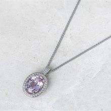 18k White Gold Kunzite & Diamond Necklace