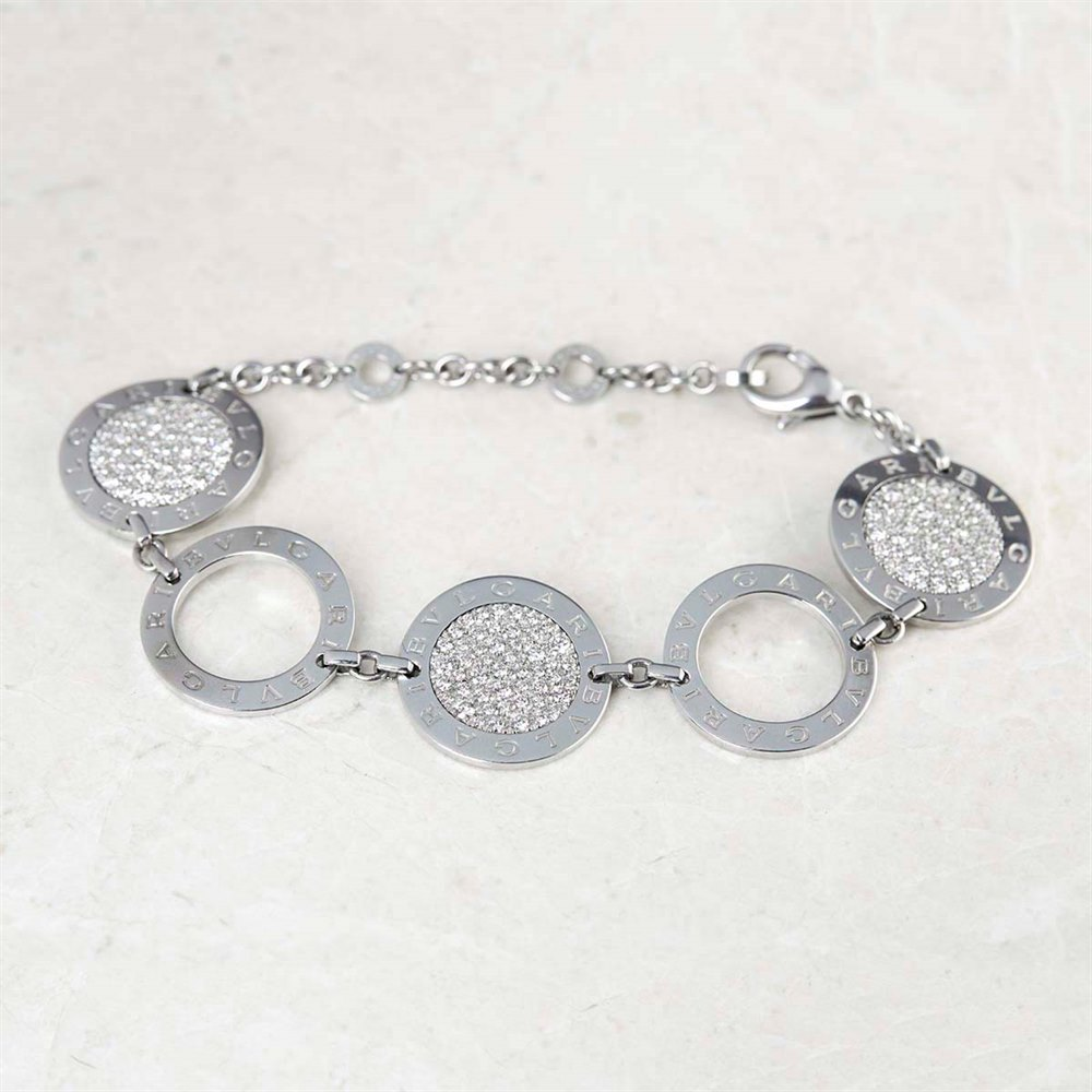 Bulgari 18k White Gold Diamond Circle Bracelet