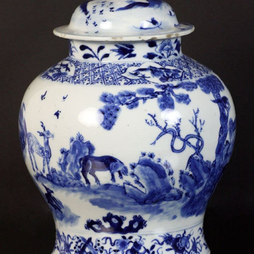 Rare & Unusual Chinese Late Kangxi Lidded Jar 18th C.