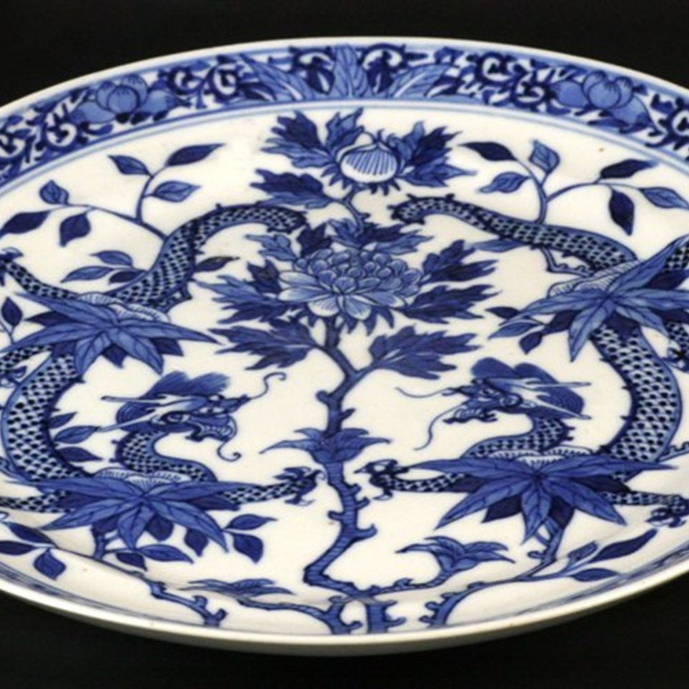 Chinese Pair Duelling Dragons Plates Qing Period 19th Century but possibly earlier