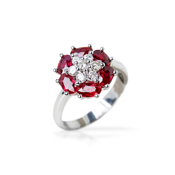 Camdame 18k White Gold Ruby & Diamond Flower Design Cocktail Ring
