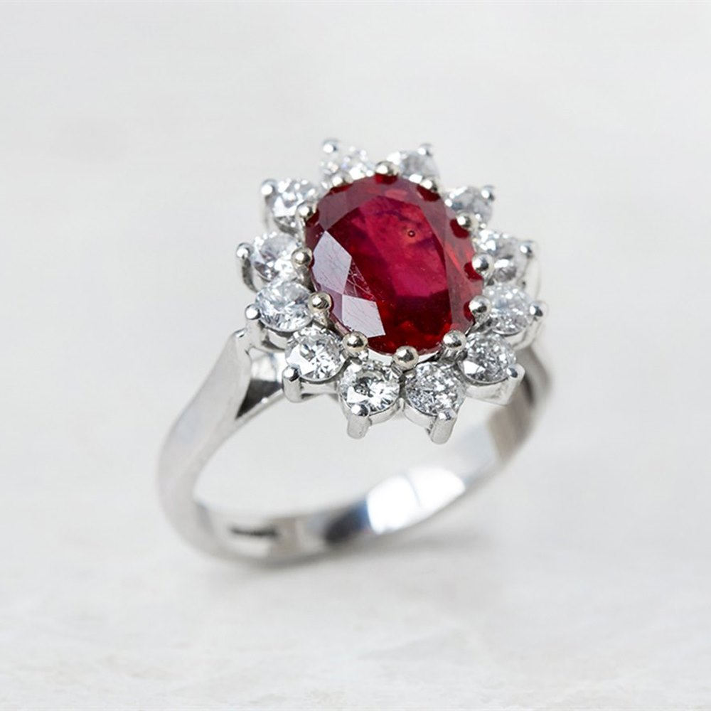 18k White Gold - 6.30 grams 18k White Gold 2.50ct Ruby & 1.00ct Diamond Cocktail Ring