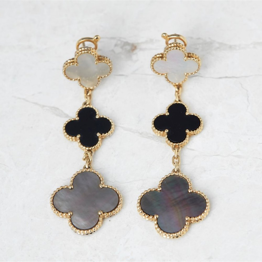 Van Cleef & Arpels 18k Yellow Gold Mother of Pearl & Onyx Magic Alhambra Earrings
