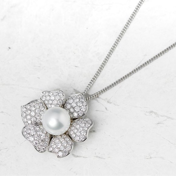 Picchiotti 18k White Gold South Sea Pearl & 3.60ct Diamond Necklace