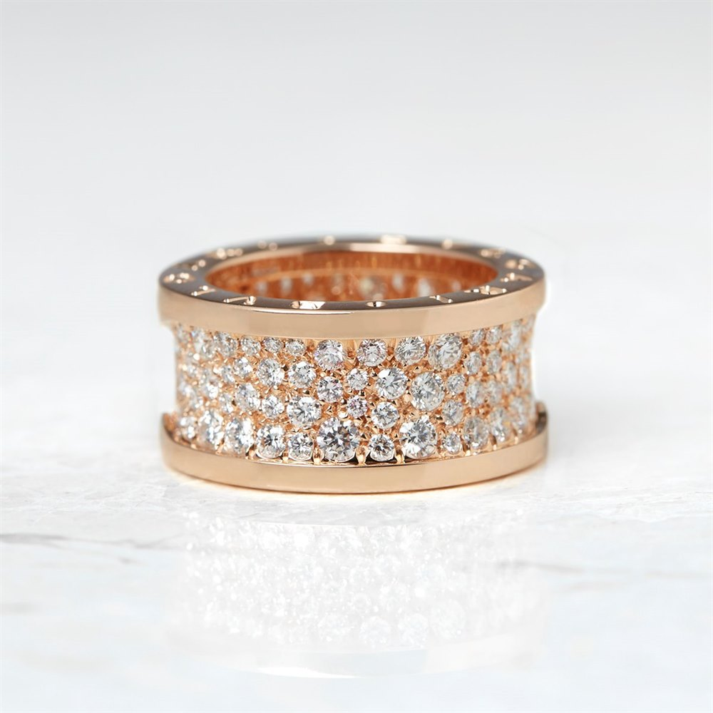 Bulgari 18k Rose Gold Diamond B.Zero 1 Band Ring