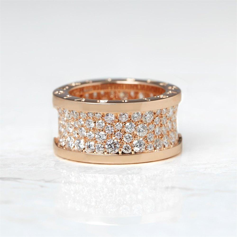 Bulgari 18k Rose Gold Diamond B.Zero 1 Ring