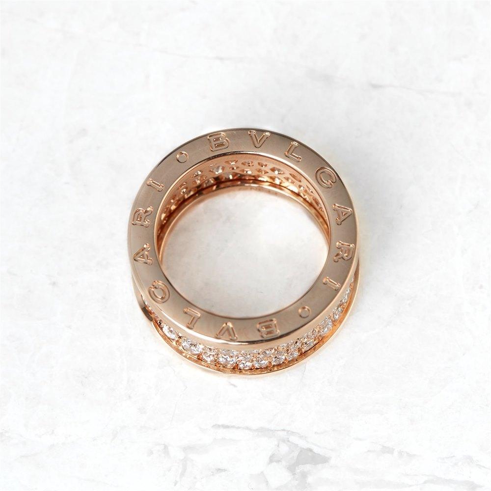 Bulgari 18k Rose Gold Diamond B.Zero1 Ring