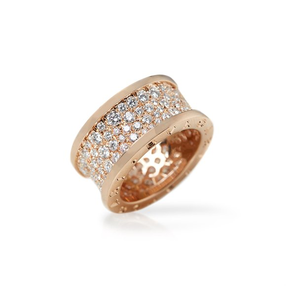 Bulgari 18k Rose Gold Diamond B.Zero 1 Ring