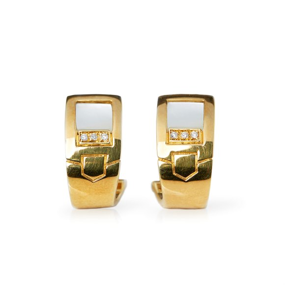 Audemars Piguet 18k Yellow Gold Mabe Pearl & Diamond Earrings