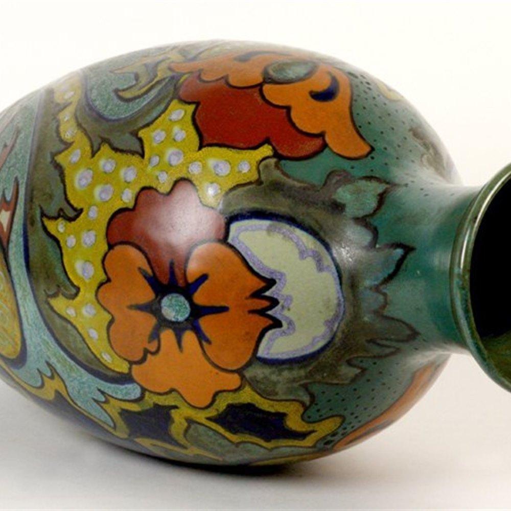 Dutch Gouda Stylish Antique Dutch Gouda Nova Pattern Vase C.1920