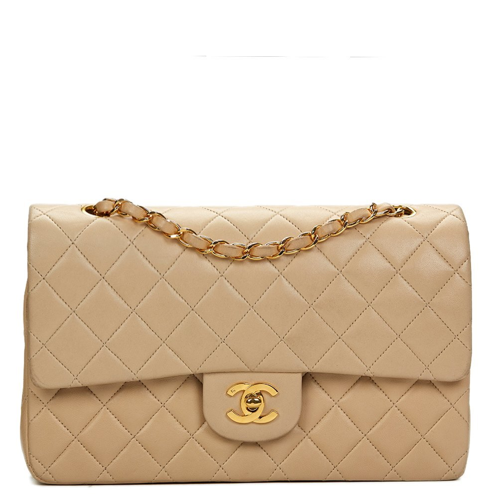 d55b68fab999 Chanel Beige Quilted Lambskin Vintage Medium Classic Double Flap Bag