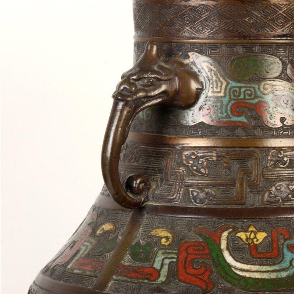 Bronze Champleve Enamel Vase 19th Century