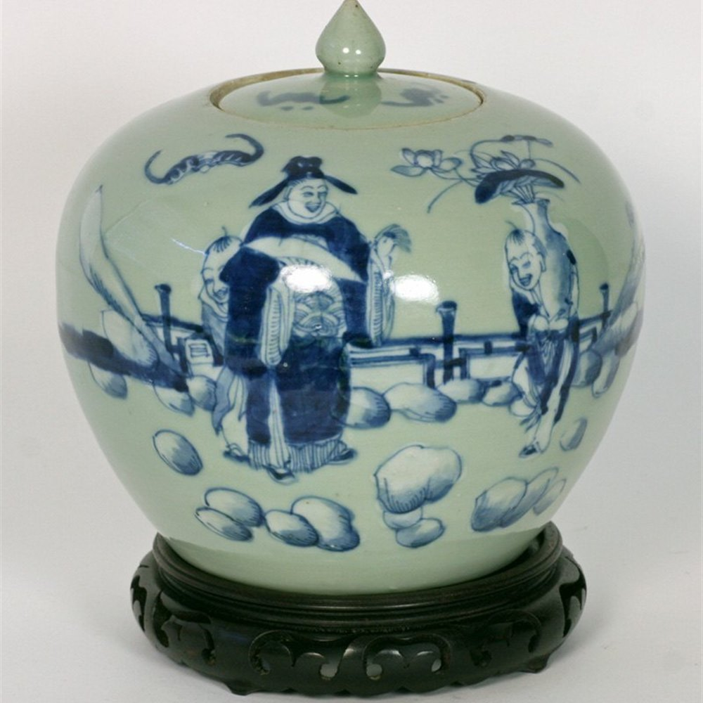 Chinese Celadon Lidded Jar 19th Century