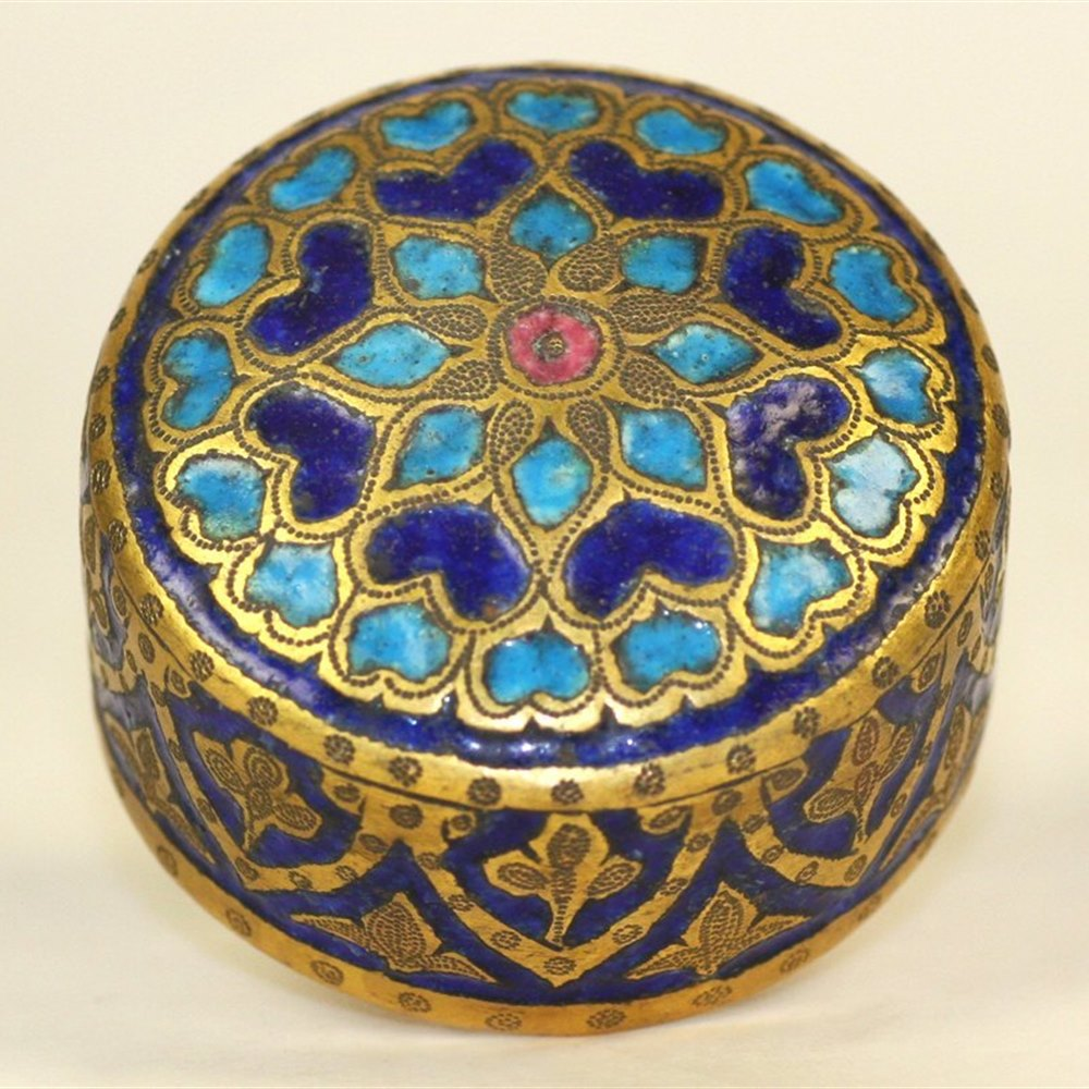 Kashmiri Pair Antique Kashmiri Enamelled Gilt Brass Lidded Jars 19th C.