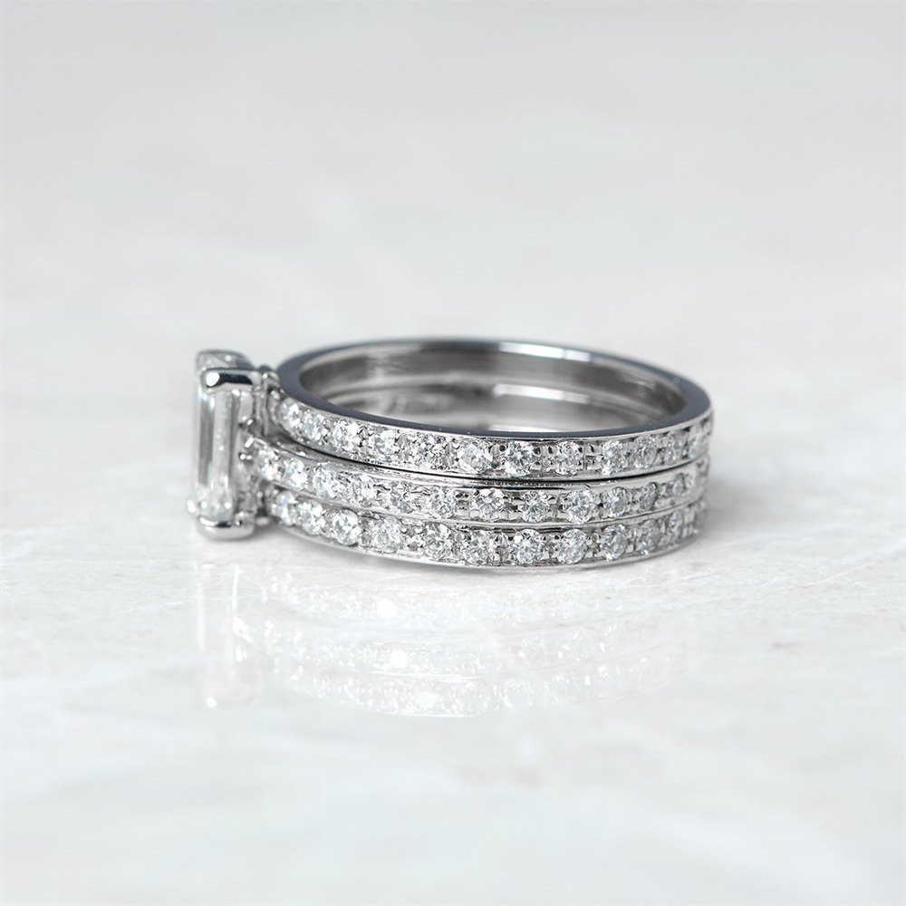 Platinum, total weight - 7.56 grams  Platinum 0.94ct Emerald Cut Diamond Three Row Full Eternity Ring